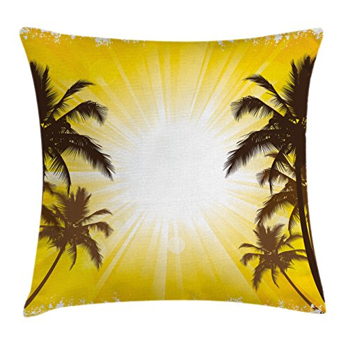 Apartment Decor Throw Pillow Cushion Cover by Ambesonne, Holiday Theme A Sunny Tropical Place with Palm Trees Illustration, Decorative Square Accent Pillow Case, 16 X 16 Inches, Yellow and White