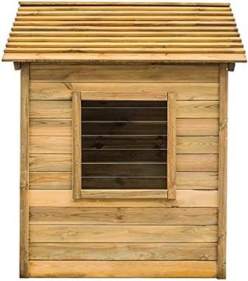mewmewcat Casa de Juegos de Jardín con Ventana y Puerta 123x120x146 cm Madera de Pino Verde Impregnada: Amazon.es: Deportes y aire libre