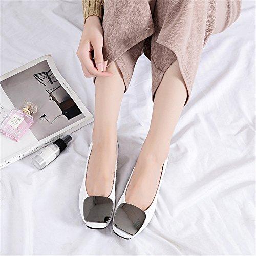 Ons Heel Nuevos para Un Mujer de Zapatos Zapatos Microfibra Informal Mocasines Suave Otoño Flat Primavera Comfort Trabajo 2018 Guisantes Flats Moda Planos de Slip PdqZxRgnPw