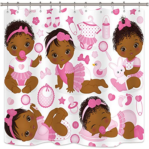 Riyidecor Kids Girls Shower Curtain Children's Pink African American Baby Cute Cartoon Toys Bathroom Home Decor Set Fabric Polyester Waterproof 72x72 Inch 12 Plastic Hooks ()