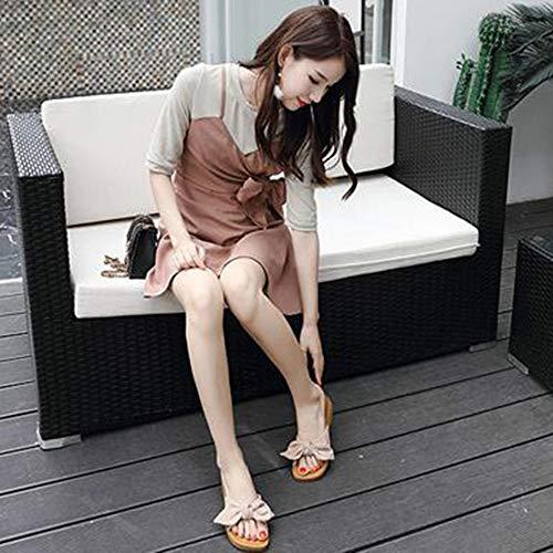 Fondo De Pink Perezosos Zapatos Playa Zapatillas Sandalias Zapatillas Suave Lazos qAYwXH6x