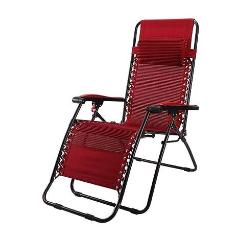 Sillas reclinables Sillas Plegables Sillas de terraza Tumbona Tumbona Zero Gravity Garden Beach Textilene roja con