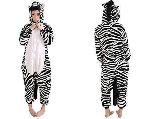SaiDeng Adult Anime Pikachu Kigurumi Pajama Cosplay Costume Onesie Size M Zebra