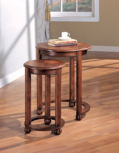 1PerfectChoice 2 Pieces Living Room Accent Round Nesting Tables Chair Side Snack Stand Cherry