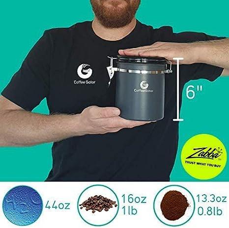 Coffee Gator Recipiente para Caf/é Recipiente para conservar los Aromas del caf/é con Cuchara medidora incluida Contenedor para de Caf/é