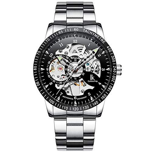 Gute IK Mens Automatic Mechanical Wristwatch, Black Steel Skeleton Coated Glass Casual Waterproof Watch - Black Silver