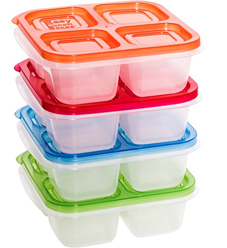 EasyLunchboxes 4-Compartment Snack Box Food Containers, Set of 4, Classic by EasyLunchboxes (Image #1)