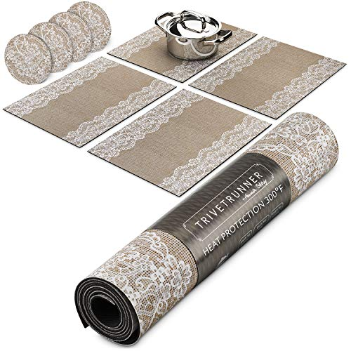 Trivetrunner:Decorative Modular Trivet Runner for Table 4 pcs Placemats Extendable Hot Pad, with Coasters Heat-Resistant Surface,for Hot Plates, Pots, Dishes, Cookware for Kitchen (Jute and Lace)