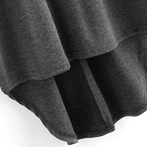 Oscuro Tops Color De Floja Casual Camisa Gris Cóctel Sólido Drapeado Irregular Dobladillo Mujer Cuello Larga Redondo Blusa T Manga Gusspower shirt wxRf4WOSq