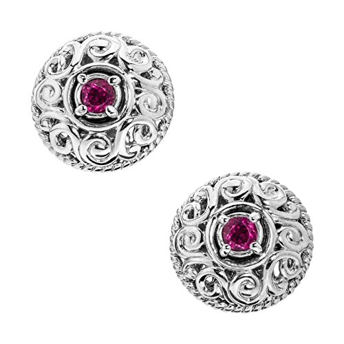 Carolyn Pollack Sterling Silver Pink Tourmaline October Birthstone Button Earrings ()