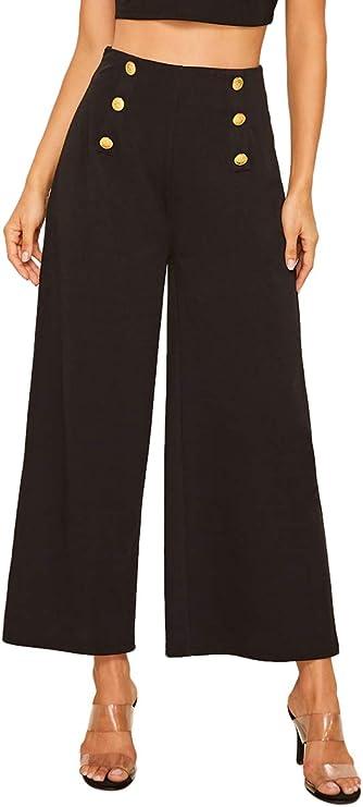 1950s Pants & Jeans- High Waist, Wide Leg, Capri, Pedal Pushers SweatyRocks Womens Classy High Waist Double Breasted Wide Leg Regular Fit Pants with Hide Zipper  AT vintagedancer.com