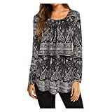 Hmlai Women Autumn Fashion O-Neck Flare 3/4 Flare Sleeve Slim Fit Blouse Shirt Tee Floral Print Swing Tunic Tops (M, Style 2-Black)