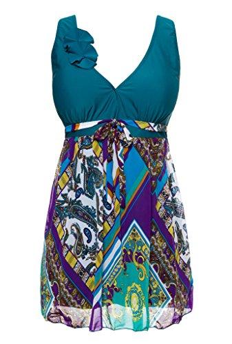 Wantdo Women's Elegant Push Up Skirted Bottom Swimsuit, BlackishGreen, US 12
