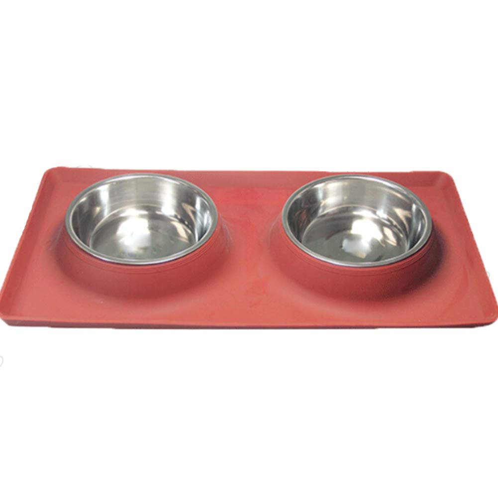 Dog Bowl Silicone Stainless Steel Creative Shape Non-Slip Pet Supplies Double Bowl Detachable Flat Feeder,Red,L