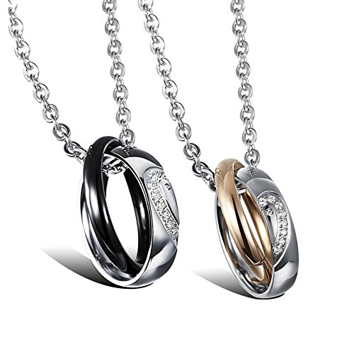 - Sweheart Stainless Steel His & Hers Rings Heart Couple Necklace CZ Love Matching Heart Pendants (A Pair)