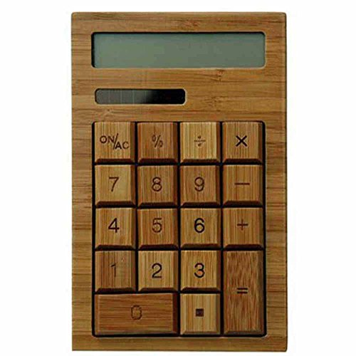 Wooden Bamboo Natural Solar Powered Calculator with 12 Digits by MC