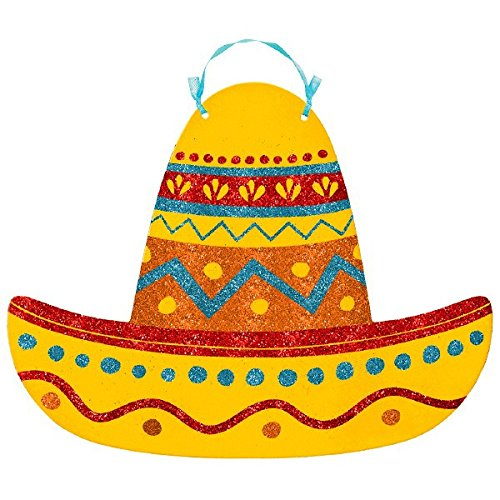 "Discount Amscan Fun-filled Fiesta Cinco de Mayo Party Glittered Sombrero Sign Decoration, Board, 9"" x 11"" supplier"