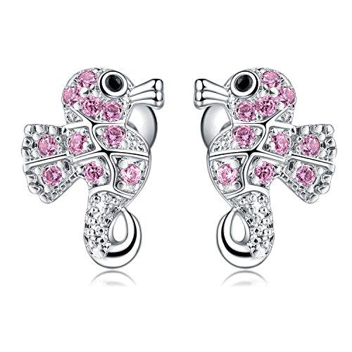 1 Pair 18G Stainless Steel Sea Horse Cubic Zirconia Cartilage Ear Stud Earrings Helix Piercing Women Girls (Pink)