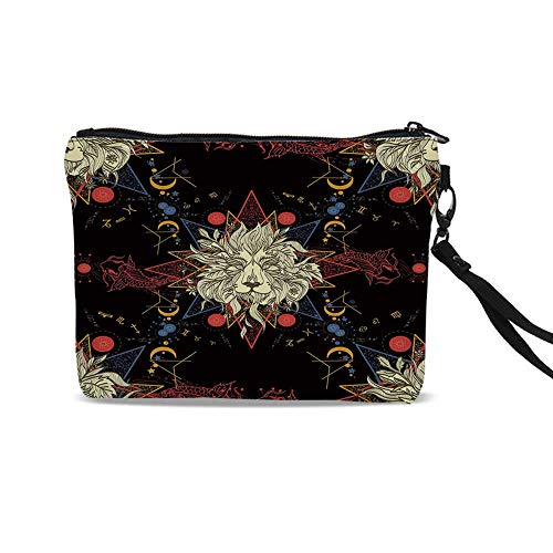 Medieval Lion Symbol (Astrology Cute Cosmetic Bags,Medieval Mystic Lion Astrological Symbols of Zodiac Antique Style Decorative For)