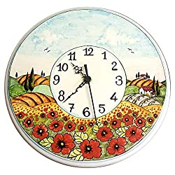 CERAMICHE D'ARTE PARRINI - Italian Ceramic Wall Clock Decorated Landscape Poppies Hand Painted Made in ITALY Tuscan Art Pottery