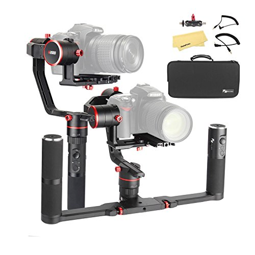 Feiyu a2000 Dual Hand Grip Kit 3-Axis Camera Gimbal FeiyuTech DSLR Stabilizer for Canon 5D 6D Series, SONY A9 A7 Series a6500, a6000, Panasonic GH4/GH5, Payload: 250-2500g, /w Carrying Case.