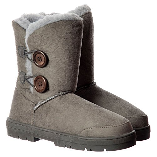 Chestnut Button Boot Grey Brown Winter Women's 2 Grey Onlineshoe Flat Lined Black Synthetic Double Fur Ankle t7wvPvqaF