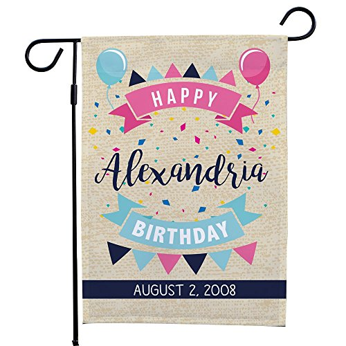 GiftsForYouNow Banner Happy Birthday Personalized Garden Flag