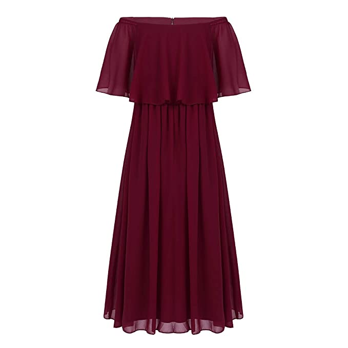 988261f500f Yeahdor Junior Bridesmaids Off Shoulder Chiffon Flower Girl Dress Wedding  Party Prom Long Maxi Skirts Burgundy