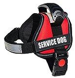 ALBCORP Reflective Service Dog Vest / Harness, Woven Polyester & Nylon,Comfy Soft Padding, XXS, RED