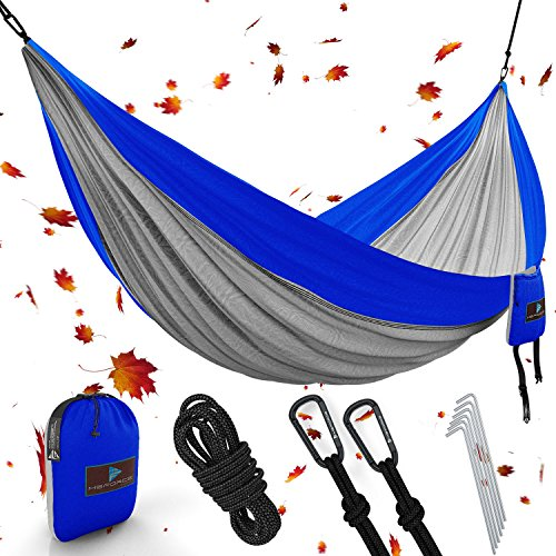 Best XL Double Camping Hammock Waterproof Lightweight Parachute 240T Portable Hammock, 2 Heavy-Duty 1500 lbs Capacity Carabiners, with 2 Tree strap For Outdoor Backpacking Indoor 118'L x 78'W