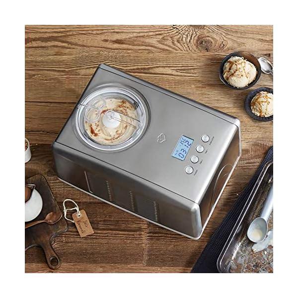 Gelatiera EMMA con Compressore Autorefrigerante 150W, 1.5L, Macchina per Gelato e Sorbetti in Acciaio inox con… 5 spesavip