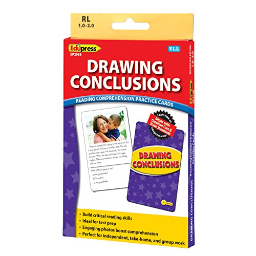 Edupress Reading Comprehension Practice Cards, Drawing Conclusions, Yellow Level (EP62988) (Elementary Drawing Conclusions)