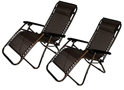 Set of 2: Zero-Gravity Canopy Lawn & Patio Chair with Head Rest - Brown