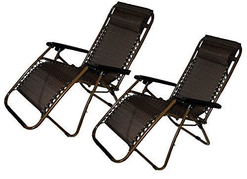 Set of 2 Zero-Gravity Canopy Lawn Patio Chair with Head Rest – Brown