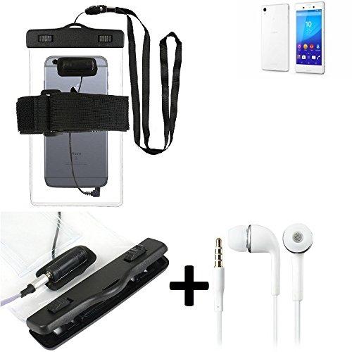 Estuche estanco al agua con entrada de auriculares para Sony Xperia M4 Aqua + auricular incluido, transparente | Trotar bolsa de playa al aire libre caja brazalete del teléfono caso de cáscara bajo pl