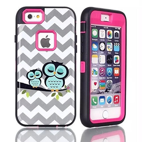 iPhone 6 case, iPhone 6 Owl Case, G-i-Mall Dual Layer Armor Hard / Soft Heavy Duty Impact Resistant Shock Absorbent Drop Protective Cases Fit For iPhone 6 (4.7) - Cute Owl Design/ Hot Pink (Free gifts: 1x iPhone 6 Screen Protector, 1x Touch Pen, 1x Anti Dust Plug) (I Pine 6 Plus)