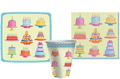 Sweet Temptations Party Supply Pack! Cake / Cupcake / Dessert Themed Party Bundle Includes Plates Napkins & Cups for 8 Guests