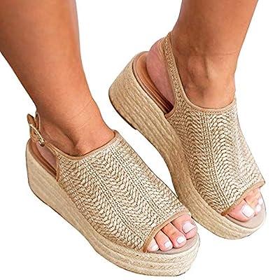Athlefit Women's Espadrille Wedge Sandals Braided Jute Ankle Buckle Platform Sandals