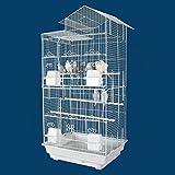 Kapaa Kabin Housetop Bird Cage - 18''W x 14''D x 36''H - White