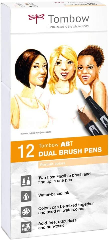 Tombow ABT-12P-4, Water-Based ABT Dual Brush Pen with Two Tips, Portrait Colours, Pack of 12