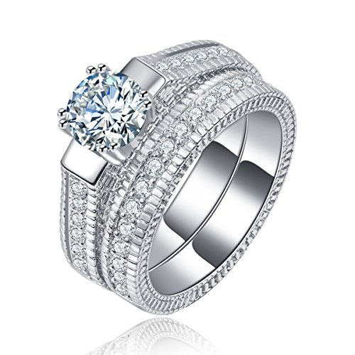 Superhai Fashion Silver Princess-cut Center with Round Side Stones Cz Wedding Ring - Women's Center Fair Oaks