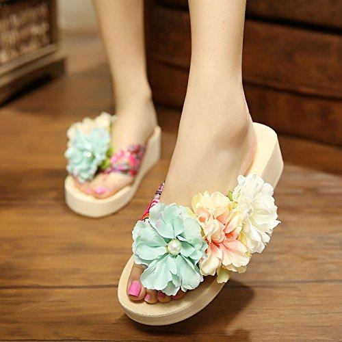 ZHANGJIA Flores Hechas a Mano, Zapatillas de Verano Vacaciones Playa de Fondo Grueso, laderas, Zapatillas, Zapatos de Mujer, Zapatos Frescos. Beige blue orange