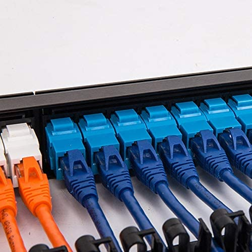 BOIU 19 1U Rack Mount Pass-Through 24 Port CAT6 Patch Panel Network Cable RJ45 Color Jack Modular Distribution Frame
