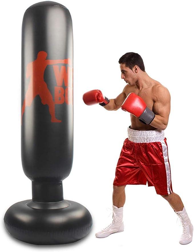 Saco de boxeo de pie para niños y adultos, 160 cm, saco de boxeo de pie, saco de boxeo hinchable, columna de boxeo para niños y adultos, para practicar karate, taekwondo, MMA.