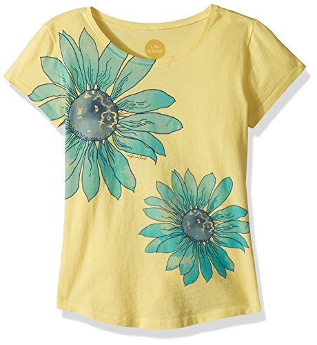 Life is Good Girl's Smiling Smooth Tee Delightful Daisy, Happy Yellow, Medium (Life Young T-shirts)