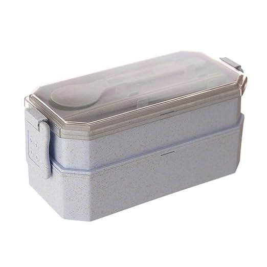 Bento Box - Caja de alimentos de doble capa para microondas ...