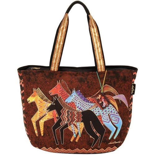 - Laurel Burch Shoulder Tote Zipper Top 23-1/2-Inch by 5-1/2-Inch by 15, 1/4-Inch, Native Horses