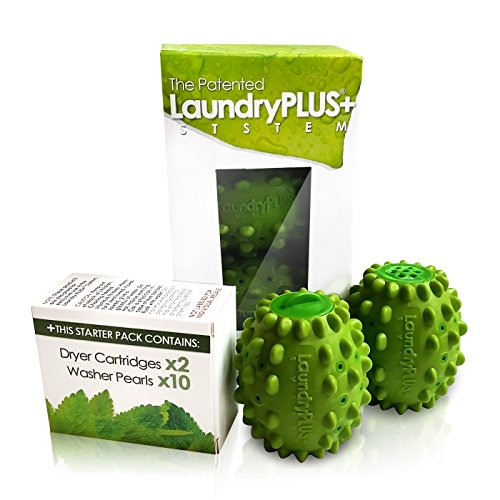 LaundryPLUS+ System: #1 BEST Laundry Product For Your Washer AND Dryer, Patented & Proven To Reduce Detergent By 90%! Clean & Soften Clothes Naturally w/o Bleach, Fabric Softeners & Wool ()