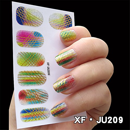 LEECOCO 5 PCS 3D Self-adhesive Beauty Nail Art Water Transfer Decal Sticker Sexy Lipstick Series Pattern Nail Art Sticker Decorations for Girls,Colorful Cross Line -