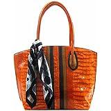 Luxury Divas Crocodile Embossed Tote Handbag With Scarf